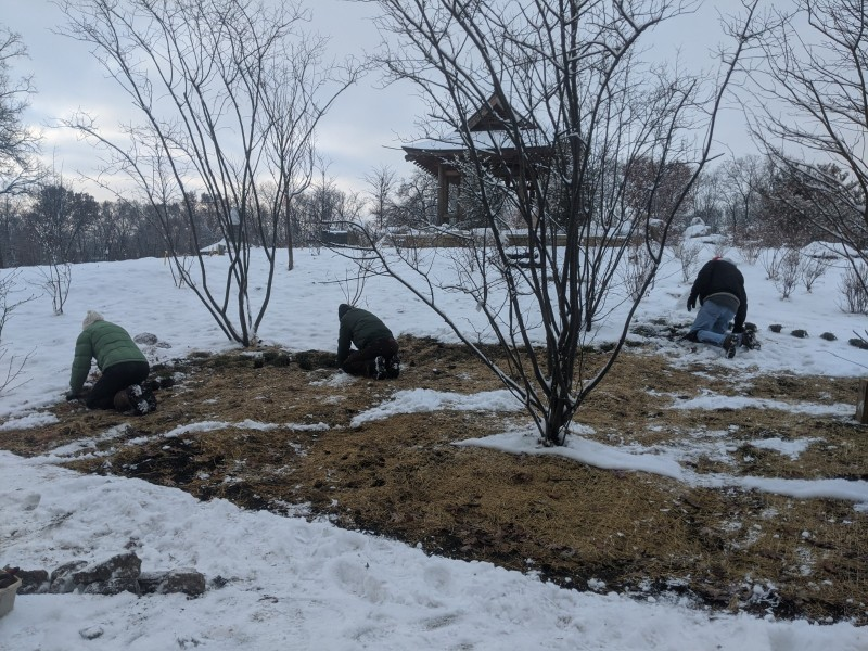 Volunteers in the snow Dec 16, 2019